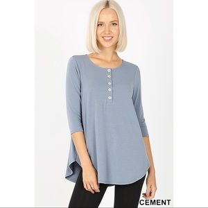 CLAIR SHELL BUTTON TOP - CEMENT
